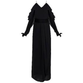 Black Front Slit Gown With Velvet Belt