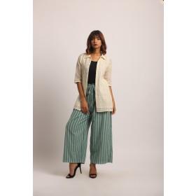 Cream Shirt with kimono