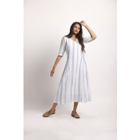 Blue White Striped ankle length Dress with godet to add flares