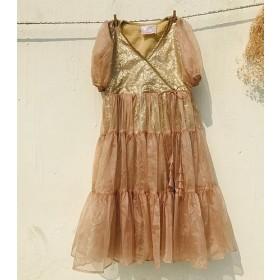 Kids Puff sleeve Organza Dress Golden Sequin underlay