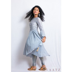 Asymmetric Anarkali with flared sleeves and sequins