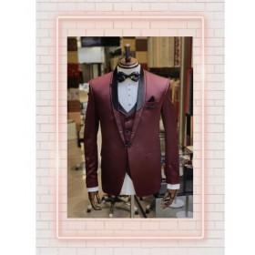Wine tuxedo suit