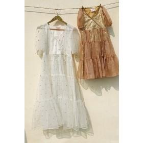Puff sleeve Tiered dress in Midi Length