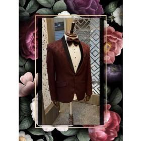 Burgundy tuxedo suit
